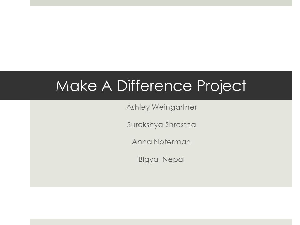 Make A Difference Project Ashley Weingartner Surakshya Shrestha Anna Noterman Bigya Nepal