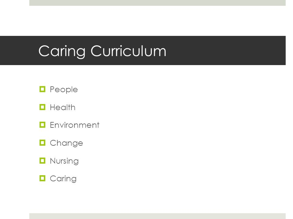 Caring Curriculum  People  Health  Environment  Change  Nursing  Caring