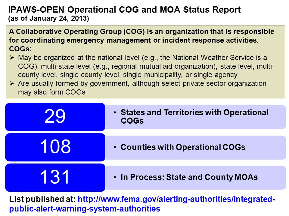 IPAWS-OPEN Operational COG and MOA Status Report (as of January 24, 2013) States and Territories with Operational COGs 29 Counties with Operational COGs 108 In Process: State and County MOAs 131 List published at: http://www.fema.gov/alerting-authorities/integrated- public-alert-warning-system-authorities A Collaborative Operating Group (COG) is an organization that is responsible for coordinating emergency management or incident response activities.