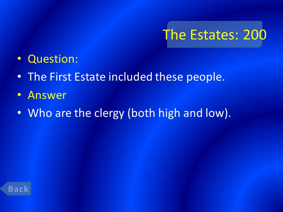 The Estates: 200 Question: The First Estate included these people.