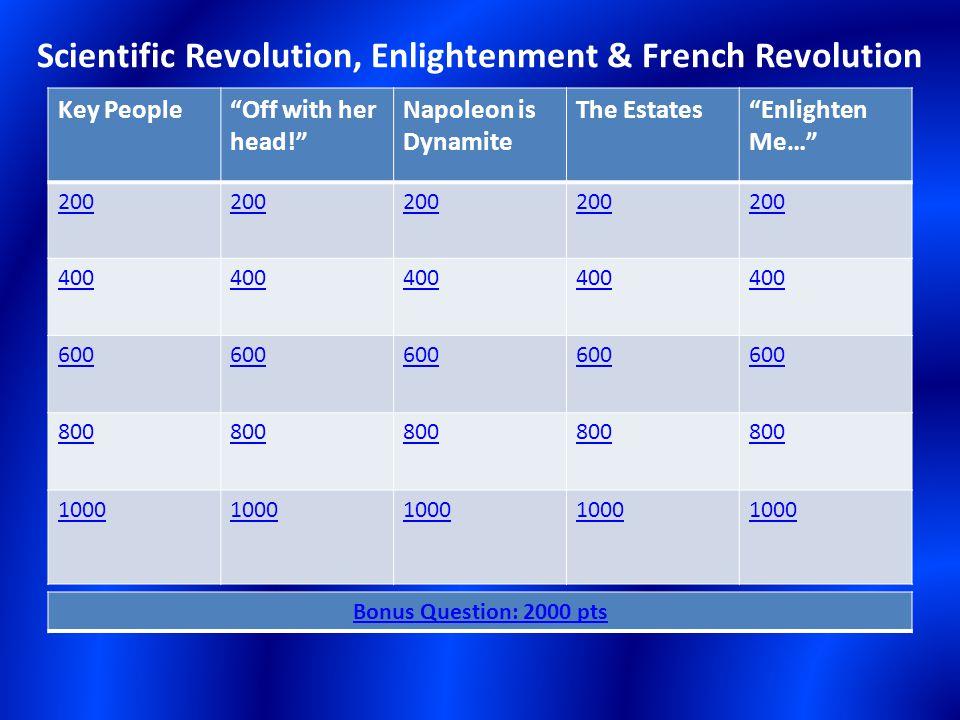 Scientific Revolution, Enlightenment & French Revolution Key People Off with her head! Napoleon is Dynamite The Estates Enlighten Me… 200 400 600 800 1000 Bonus Question: 2000 pts