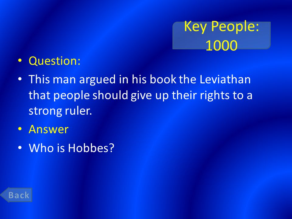 Key People: 1000 Question: This man argued in his book the Leviathan that people should give up their rights to a strong ruler. Answer Who is Hobbes?