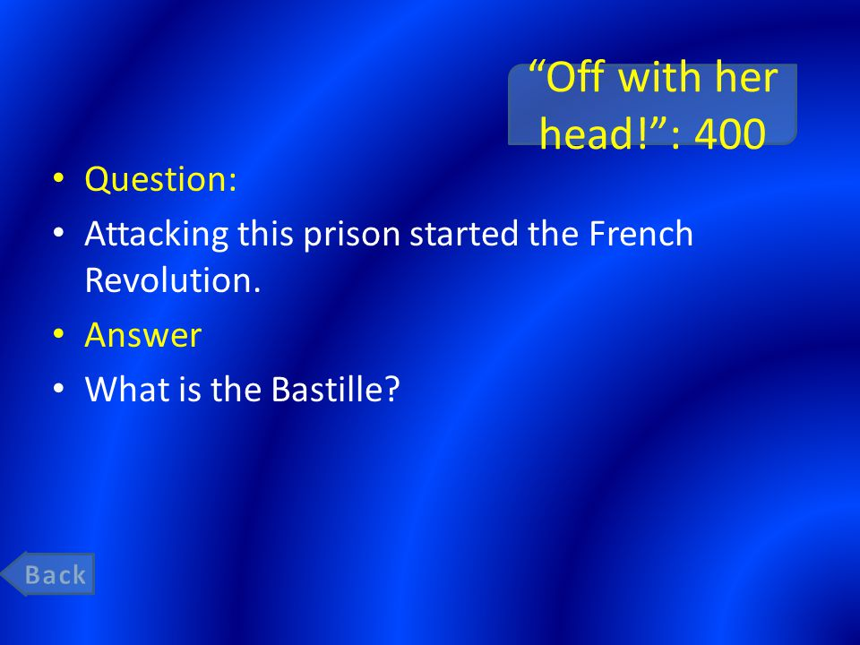 """""""Off with her head!"""": 400 Question: Attacking this prison started the French Revolution. Answer What is the Bastille?"""