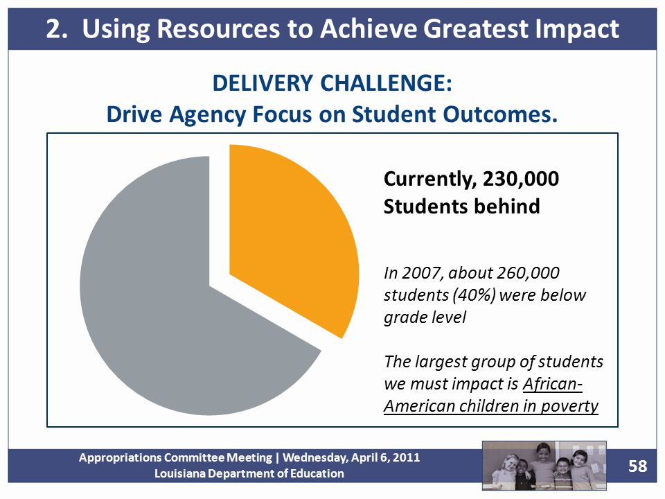 58 Appropriations Committee Meeting | Wednesday, April 6, 2011 Louisiana Department of Education DELIVERY CHALLENGE: Drive Agency Focus on Student Outcomes.