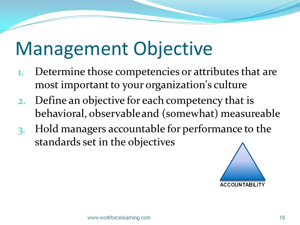 Management Objective 1. Determine those competencies or attributes that are most important to your organization's culture 2. Define an objective for e