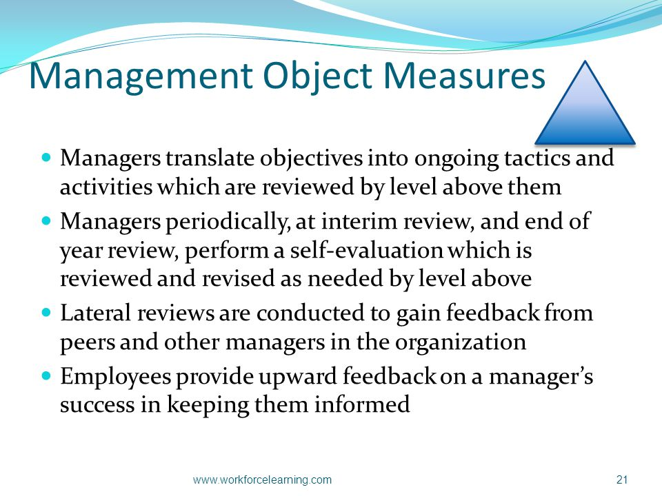 Management Object Measures Managers translate objectives into ongoing tactics and activities which are reviewed by level above them Managers periodica