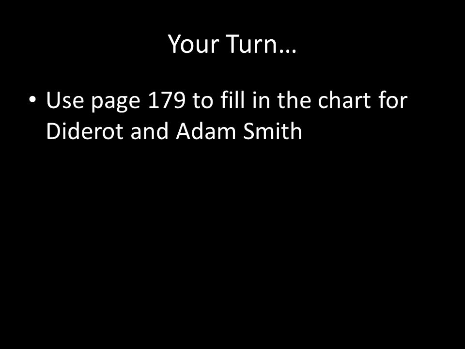 Your Turn… Use page 179 to fill in the chart for Diderot and Adam Smith