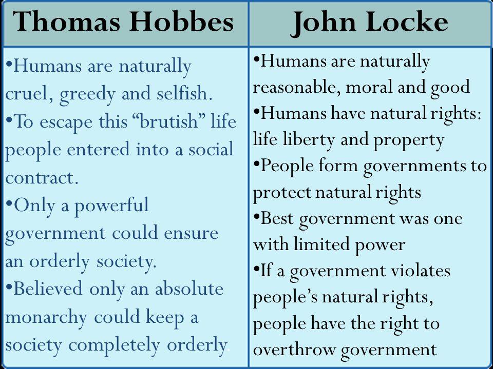 John Locke Humans are naturally cruel, greedy and selfish.