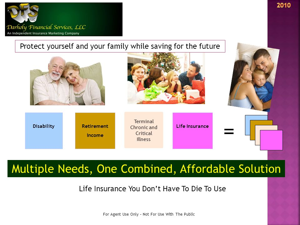 DisabilityRetirement Income Life Insurance = Multiple Needs, One Combined, Affordable Solution For Agent Use Only – Not For Use With The Public Life I
