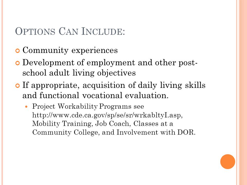 O PTIONS C AN I NCLUDE : Community experiences Development of employment and other post- school adult living objectives If appropriate, acquisition of daily living skills and functional vocational evaluation.