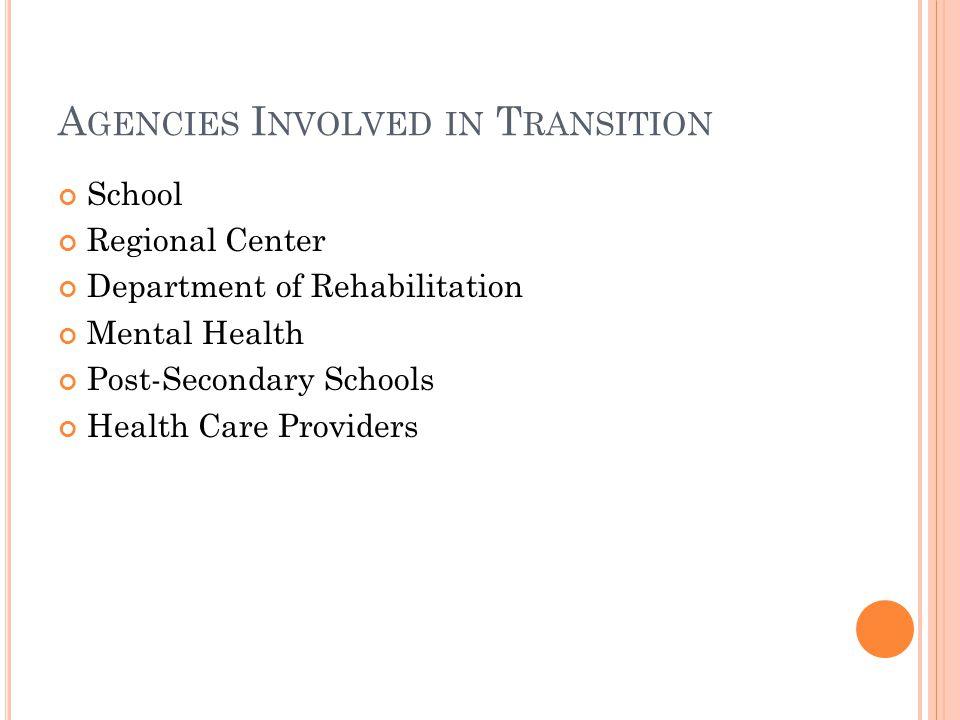 A GENCIES I NVOLVED IN T RANSITION School Regional Center Department of Rehabilitation Mental Health Post-Secondary Schools Health Care Providers