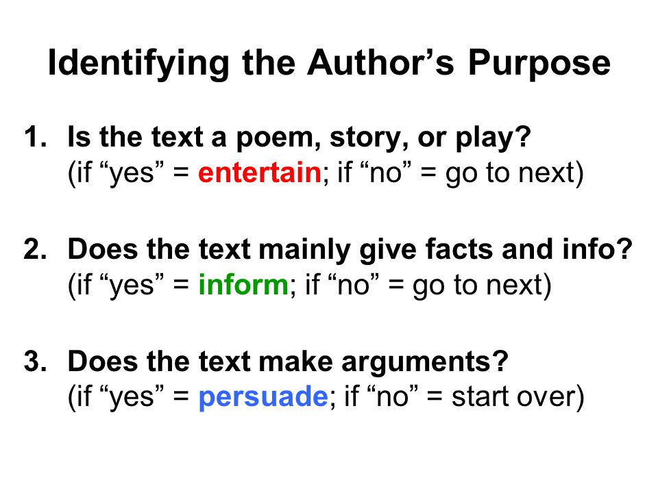 """Identifying the Author's Purpose 1.Is the text a poem, story, or play? (if """"yes"""" = entertain; if """"no"""" = go to next) 2.Does the text mainly give facts"""