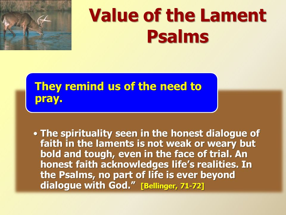 Value of the Lament Psalms The spirituality seen in the honest dialogue of faith in the laments is not weak or weary but bold and tough, even in the f