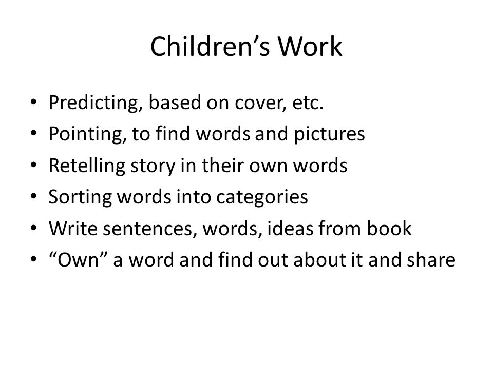 Children's Work Predicting, based on cover, etc.