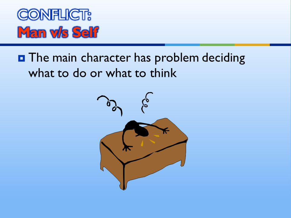  The main character has problem deciding what to do or what to think