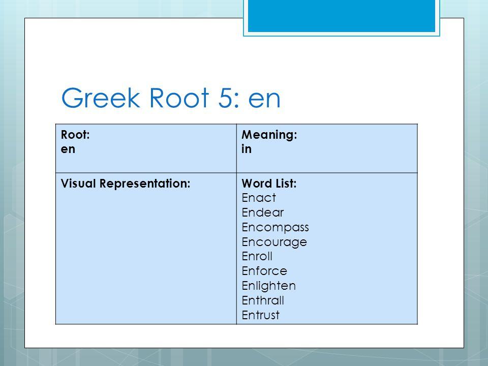Greek Root 5: en Root: en Meaning: in Visual Representation:Word List: Enact Endear Encompass Encourage Enroll Enforce Enlighten Enthrall Entrust
