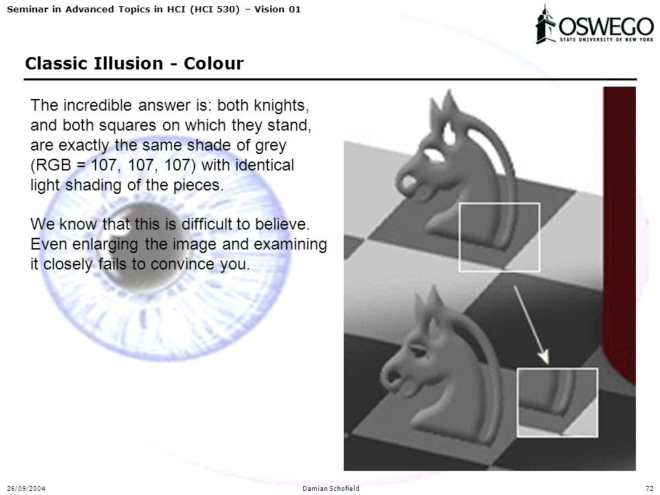 Seminar in Advanced Topics in HCI (HCI 530) – Vision 01 26/09/2004Damian Schofield72 Classic Illusion - Colour The incredible answer is: both knights,