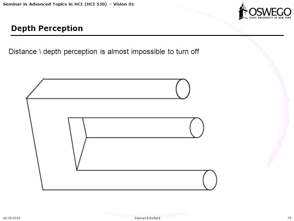 Seminar in Advanced Topics in HCI (HCI 530) – Vision 01 26/09/2004Damian Schofield79 Depth Perception Distance \ depth perception is almost impossible