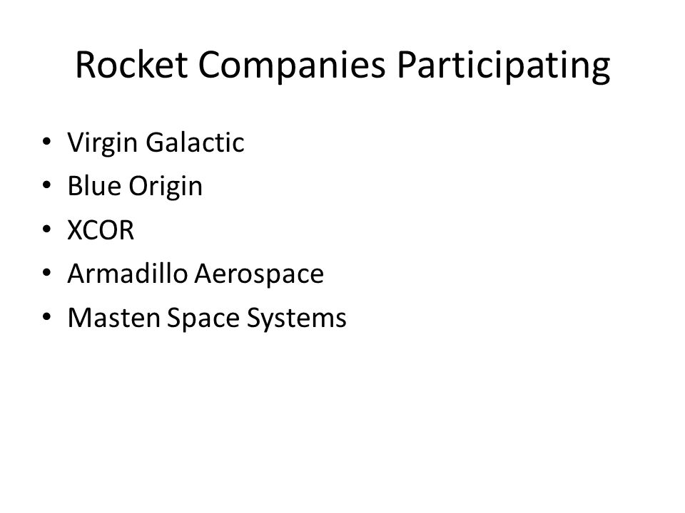 Rocket Companies Participating Virgin Galactic Blue Origin XCOR Armadillo Aerospace Masten Space Systems