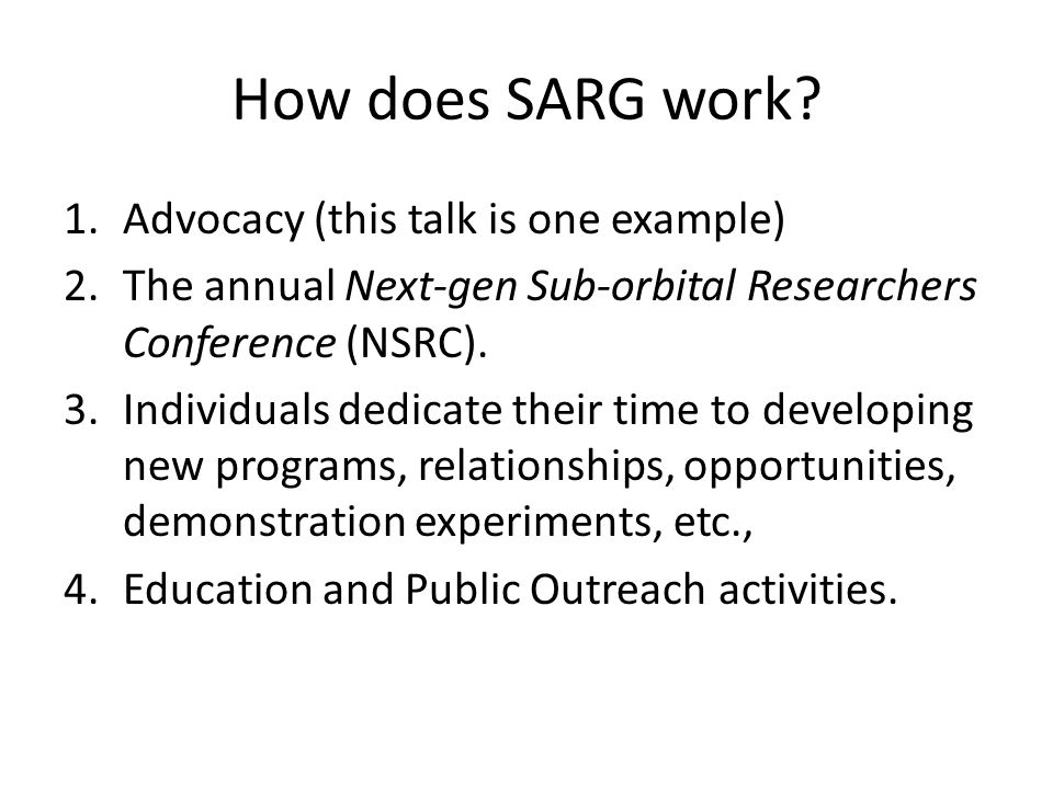 How does SARG work.