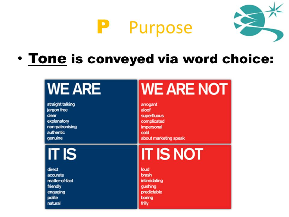P = Purpose Tone is conveyed via word choice: