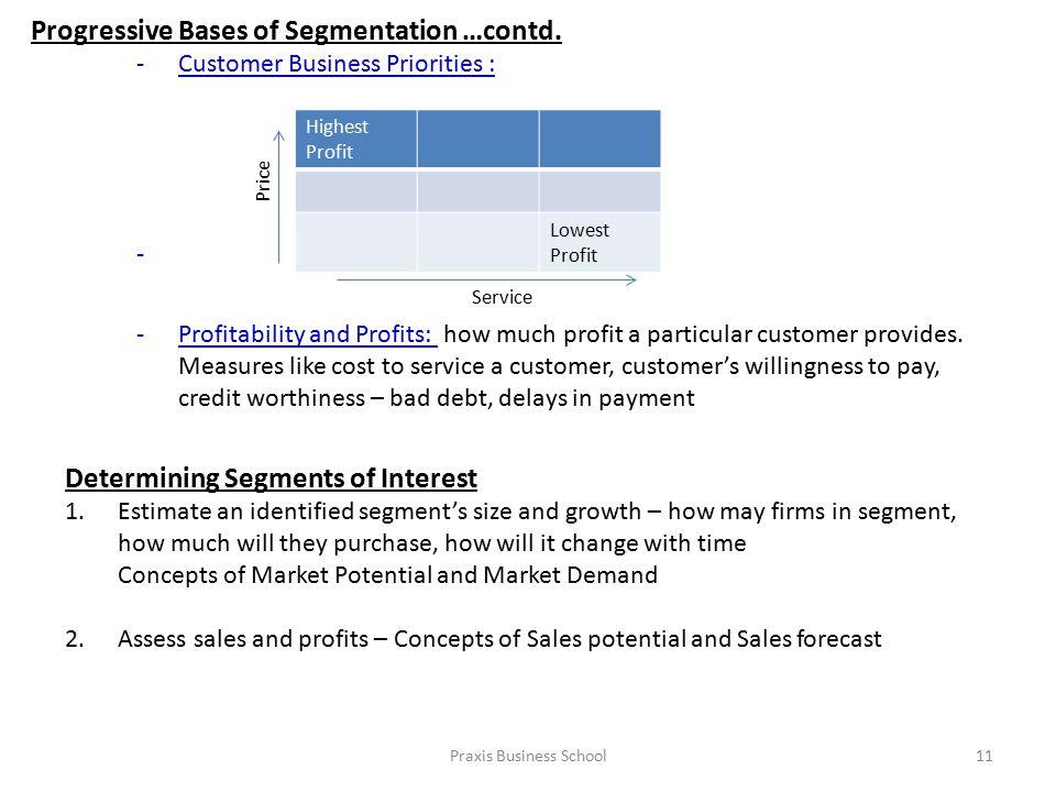 Praxis Business School11 Progressive Bases of Segmentation …contd.