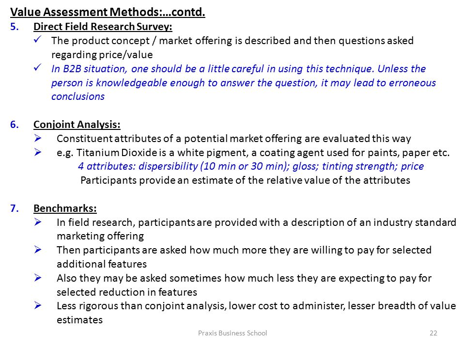 Praxis Business School22 Value Assessment Methods:…contd.