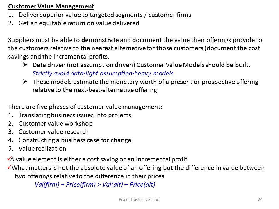 Praxis Business School24 Customer Value Management 1.Deliver superior value to targeted segments / customer firms 2.Get an equitable return on value delivered Suppliers must be able to demonstrate and document the value their offerings provide to the customers relative to the nearest alternative for those customers (document the cost savings and the incremental profits.
