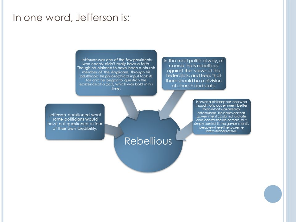Rebellious Jefferson questioned what some politicians would have not questioned in fear of their own credibility.