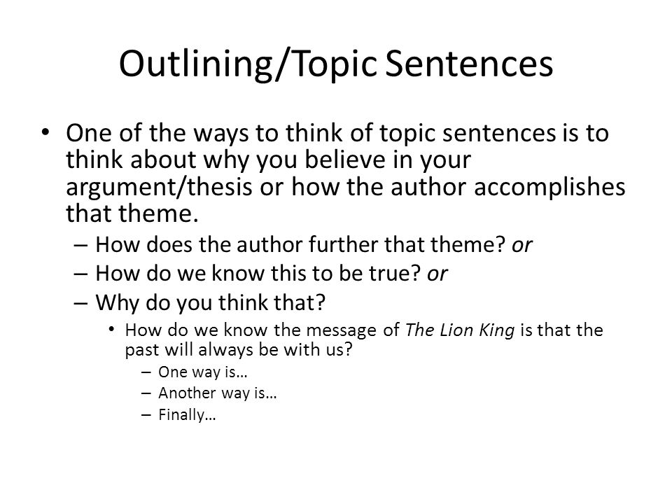 Outlining/Topic Sentences Your thesis is In the novel Charlotte's Web, Charlotte represents the epitome of friendship. – Which of these topic sentences support it.