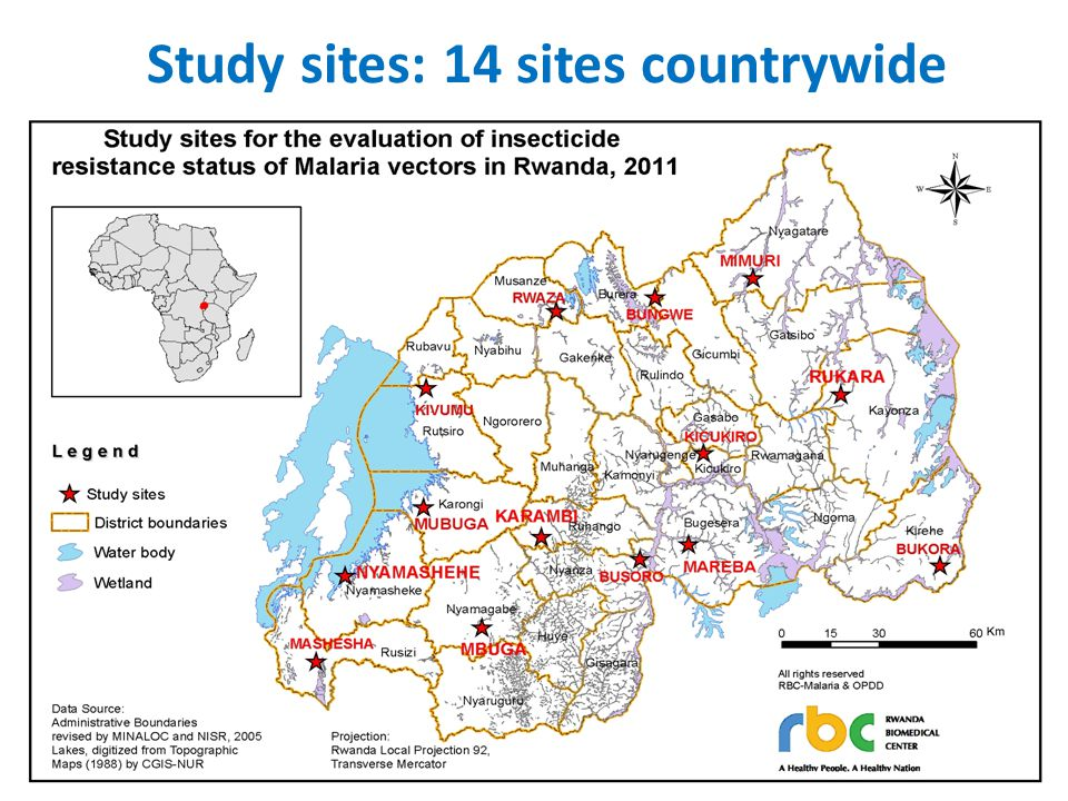 Study sites: 14 sites countrywide
