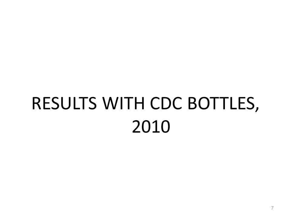 Susceptible tests conducted on An. gambiae s.l. in 8 sites with CDC bottle, 2010. 8
