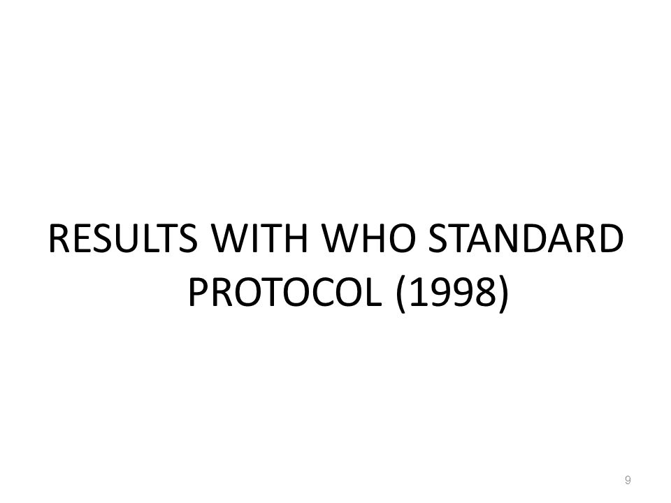 RESULTS WITH WHO STANDARD PROTOCOL (1998) 9