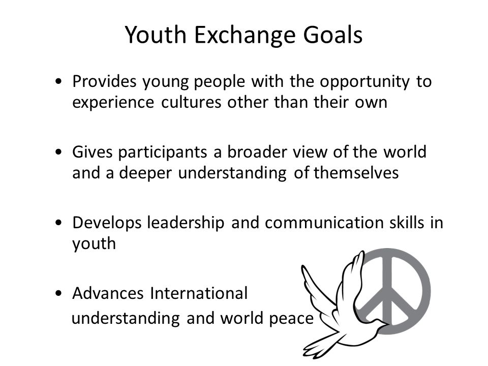 Youth Exchange Goals Provides young people with the opportunity to experience cultures other than their own Gives participants a broader view of the w