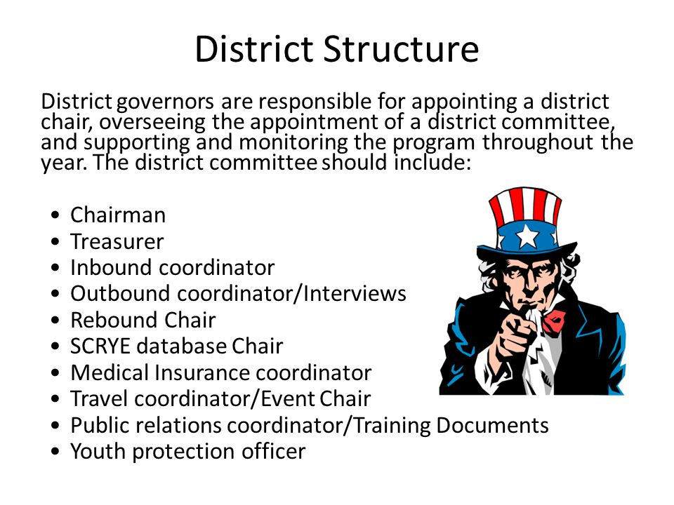 District Structure District governors are responsible for appointing a district chair, overseeing the appointment of a district committee, and support