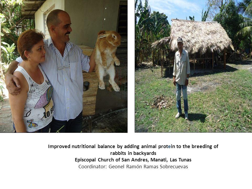 Improved nutritional balance by adding animal protein to the breeding of rabbits in backyards Episcopal Church of San Andres, Manati, Las Tunas Coordinator: Geonel Ramón Ramas Sobrecuevas