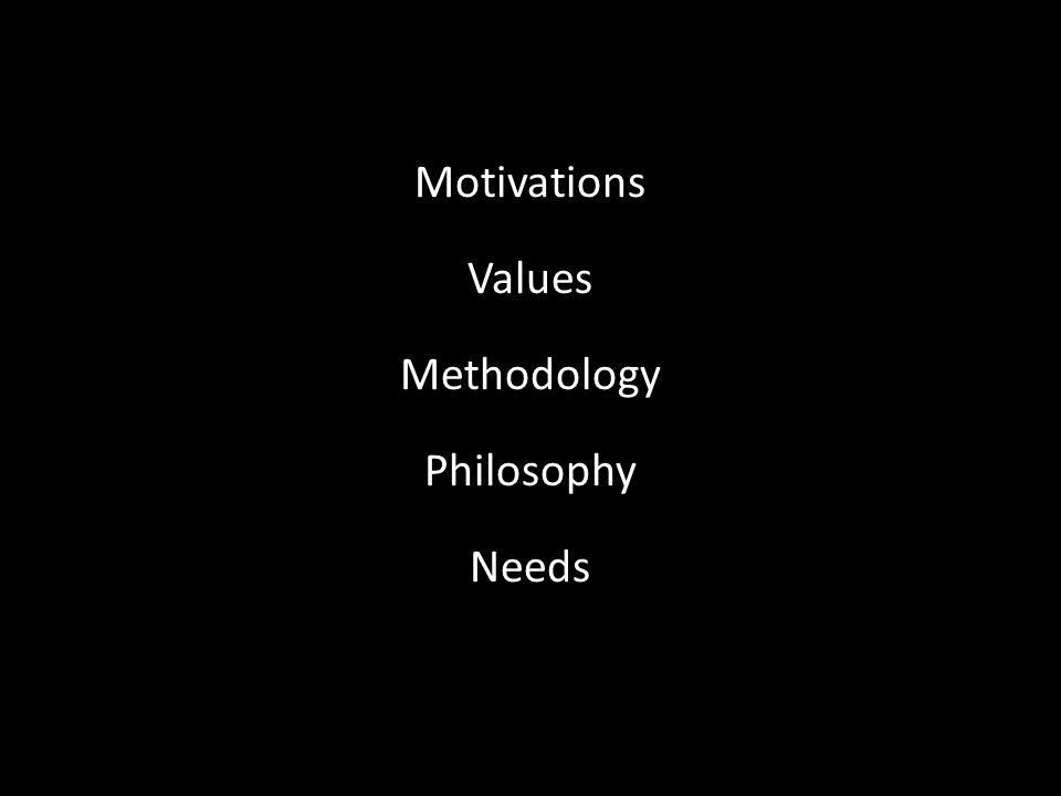 Motivations Values Methodology Philosophy Needs