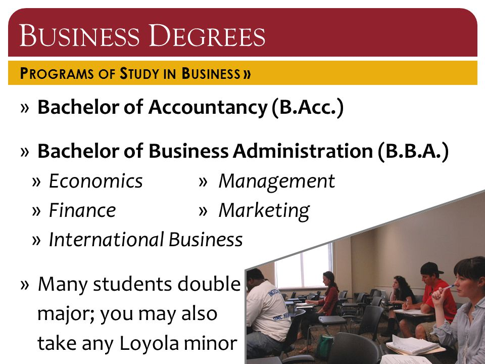 B USINESS D EGREES P ROGRAMS OF S TUDY IN B USINESS » »Bachelor of Accountancy (B.Acc.) »Bachelor of Business Administration (B.B.A.) »Economics »Finance »International Business »Many students double major; you may also take any Loyola minor »Management »Marketing