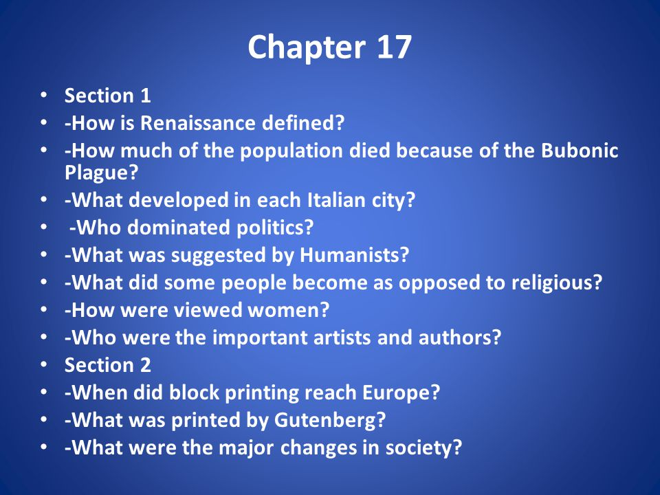 Chapter 17 Section 1 -How is Renaissance defined.