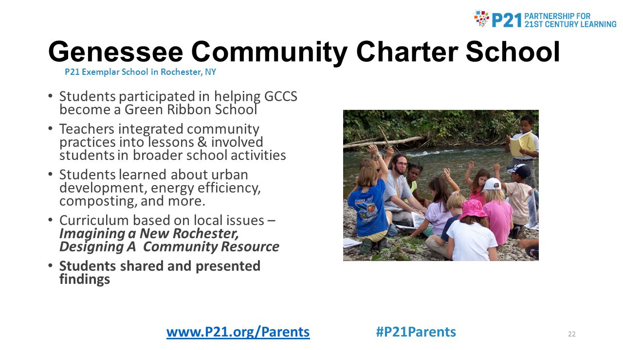Genessee Community Charter School Students participated in helping GCCS become a Green Ribbon School Teachers integrated community practices into lessons & involved students in broader school activities Students learned about urban development, energy efficiency, composting, and more.