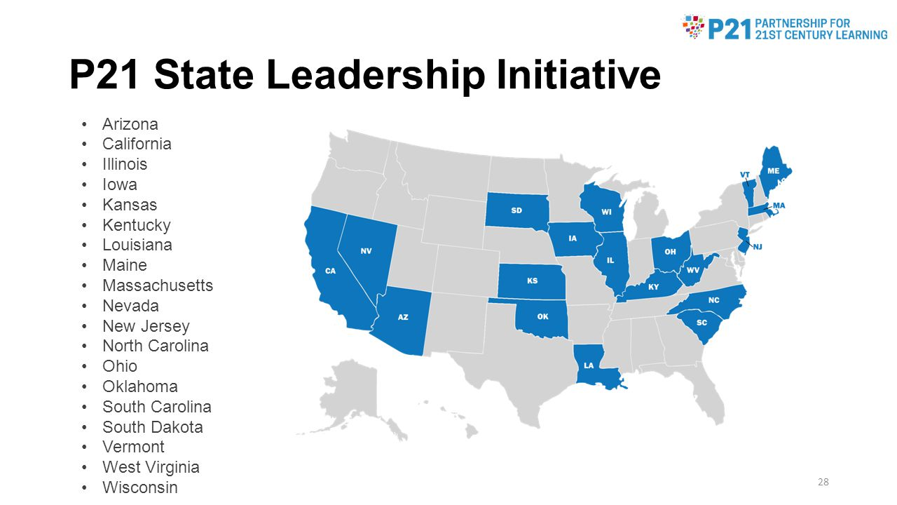 P21 State Leadership Initiative Arizona California Illinois Iowa Kansas Kentucky Louisiana Maine Massachusetts Nevada New Jersey North Carolina Ohio Oklahoma South Carolina South Dakota Vermont West Virginia Wisconsin 28