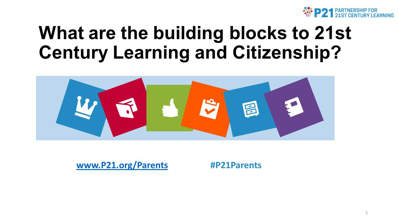 How parents can help support 21st century citizenship Discuss news & current events at home Make decisions about responsible digital practices Talk about your own role in community Think globally and act locally Make connections to resources at school and afterschool www.P21.org/Parentswww.P21.org/Parents #P21Parents 16