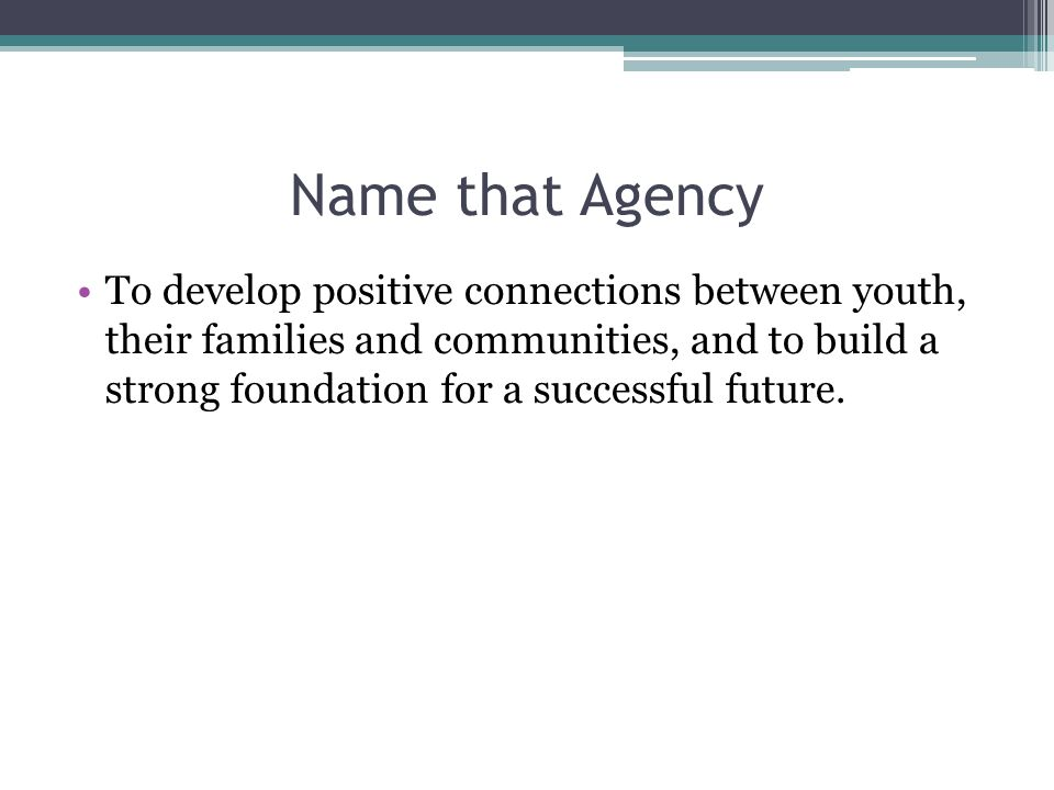 Name that Agency To develop positive connections between youth, their families and communities, and to build a strong foundation for a successful future.