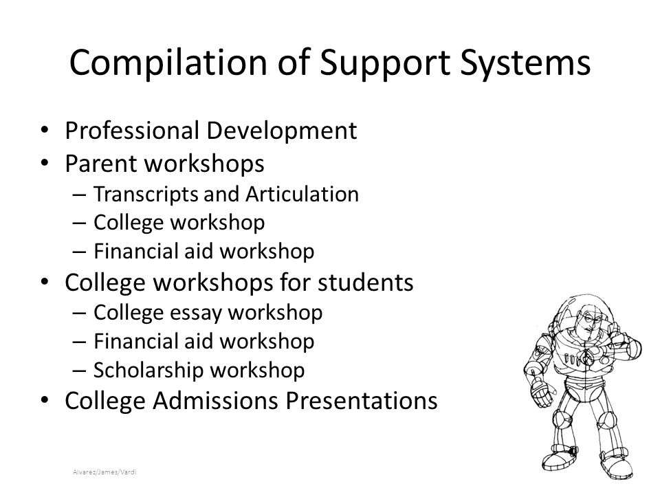 Compilation of Support Systems Professional Development Parent workshops – Transcripts and Articulation – College workshop – Financial aid workshop College workshops for students – College essay workshop – Financial aid workshop – Scholarship workshop College Admissions Presentations Alvarez/James/Vardi