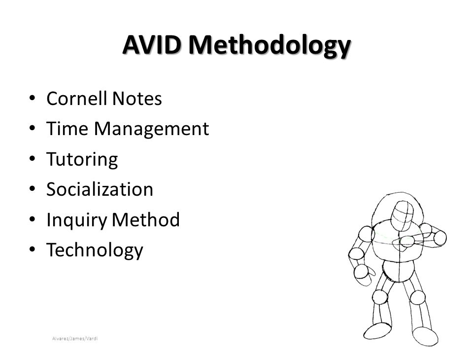 AVID Methodology Cornell Notes Time Management Tutoring Socialization Inquiry Method Technology Alvarez/James/Vardi