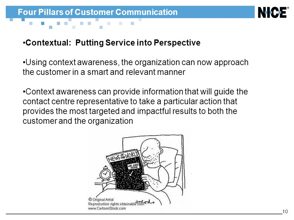 Four Pillars of Customer Communication 10 Contextual: Putting Service into Perspective Using context awareness, the organization can now approach the