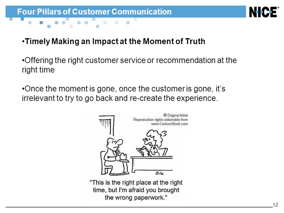 Four Pillars of Customer Communication 12 Timely Making an Impact at the Moment of Truth Offering the right customer service or recommendation at the