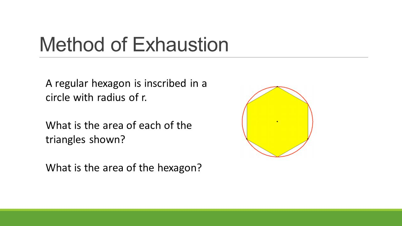 Method of Exhaustion A regular hexagon is inscribed in a circle with radius of r.