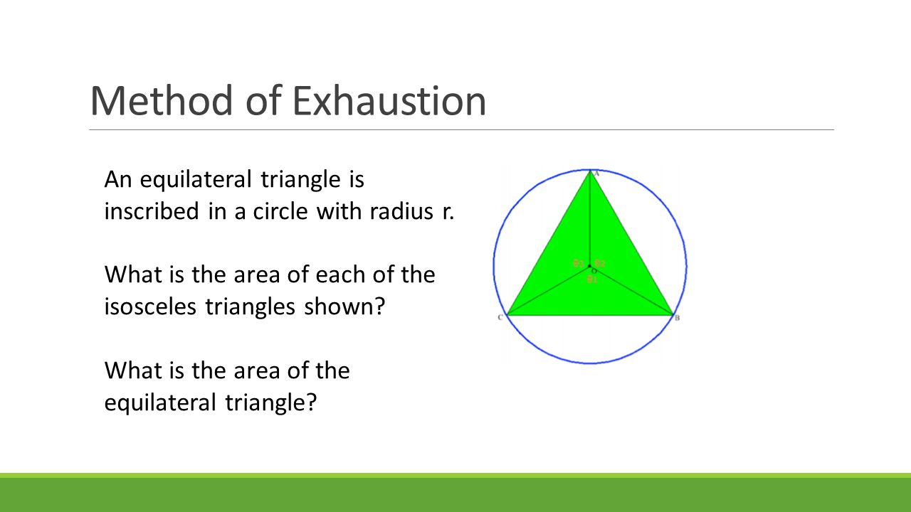 Method of Exhaustion An equilateral triangle is inscribed in a circle with radius r.