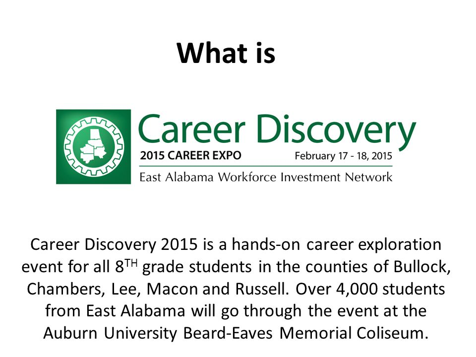 What is Career Discovery 2015 is a hands-on career exploration event for all 8 TH grade students in the counties of Bullock, Chambers, Lee, Macon and Russell.